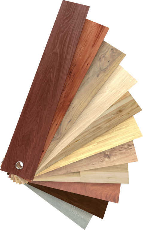 Different wood panels that are fanned out